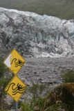 Fox_Glacier_064_12262009 - Tidal wave signs warning us not to get close to the Fox River due to glacial calving, which we actually witnessed during our visit