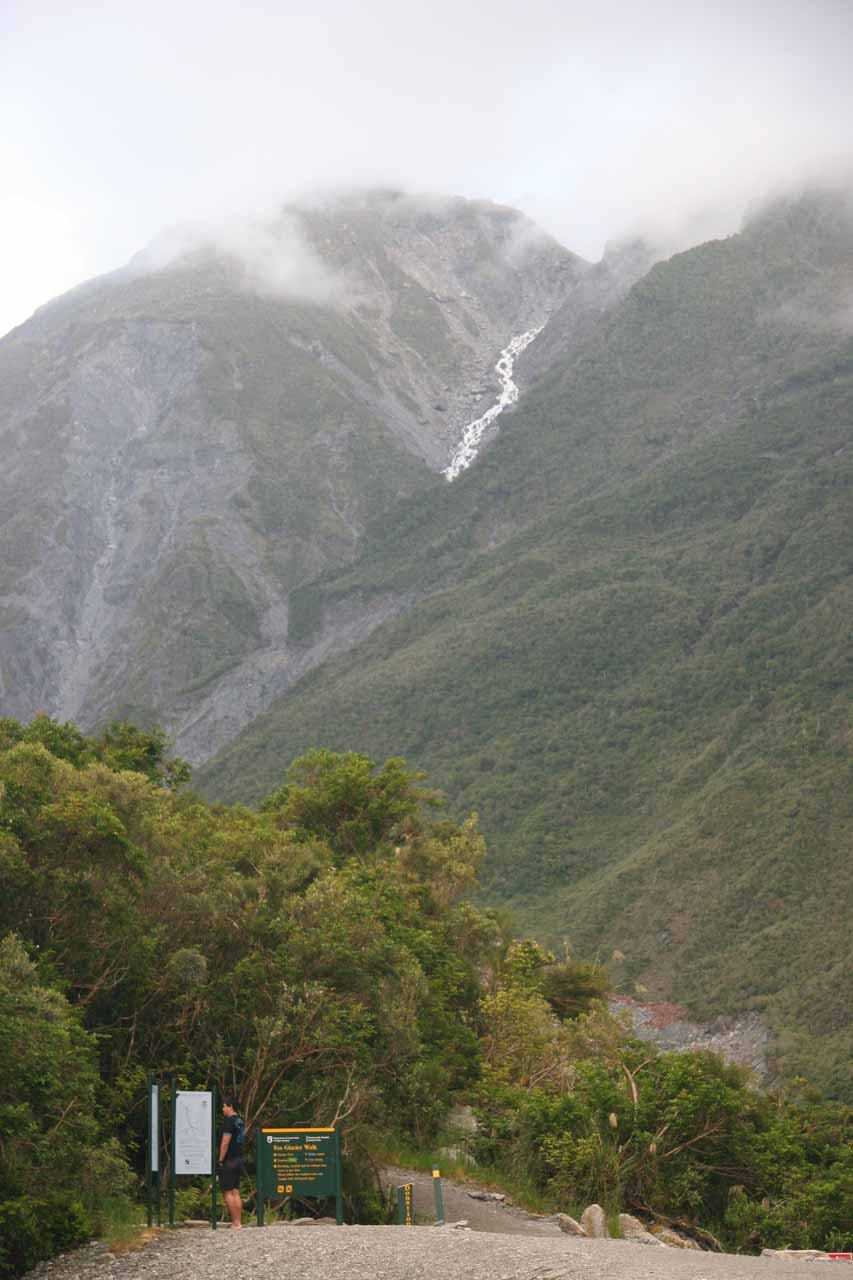 We came back later in the afternoon to see the Fox Glacier again, and in doing so, we noticed this cascade in the distance seen from the car park