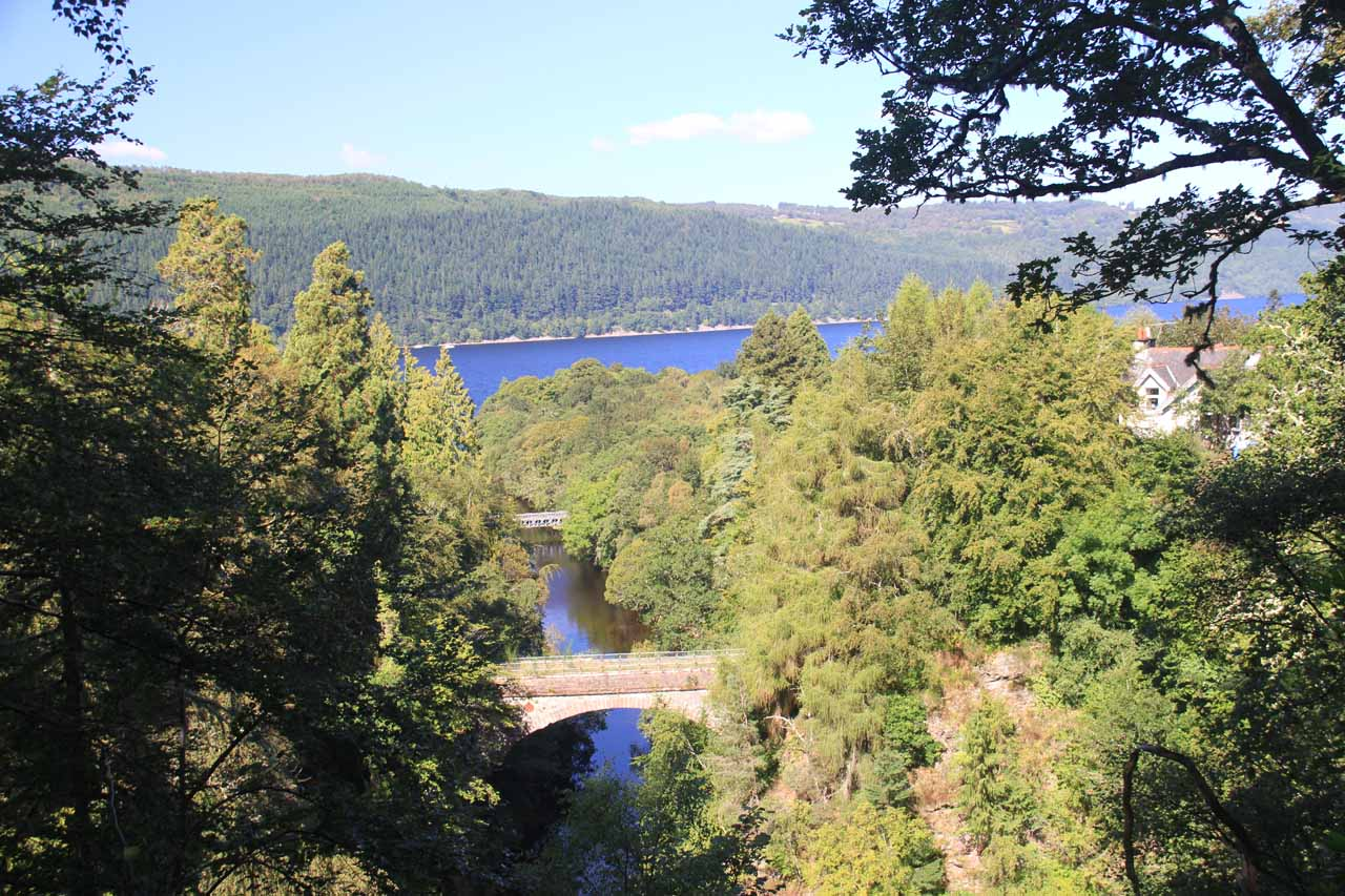 Looking over a pair of bridges towards Loch Ness