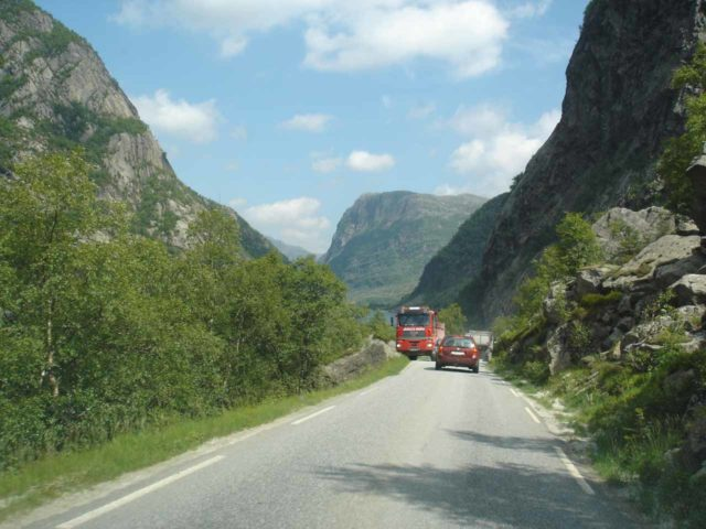 This picture probably gives you a decent idea of how narrow the roads can be as that truck is going in the opposite direction of us while driving the fjords of Norway