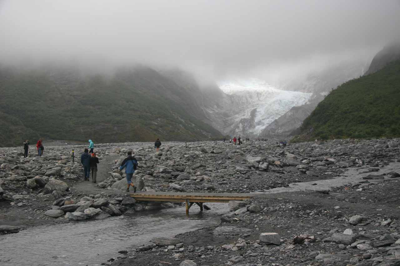 Back on the trail to the terminus of Franz Josef Glacier in December 2009