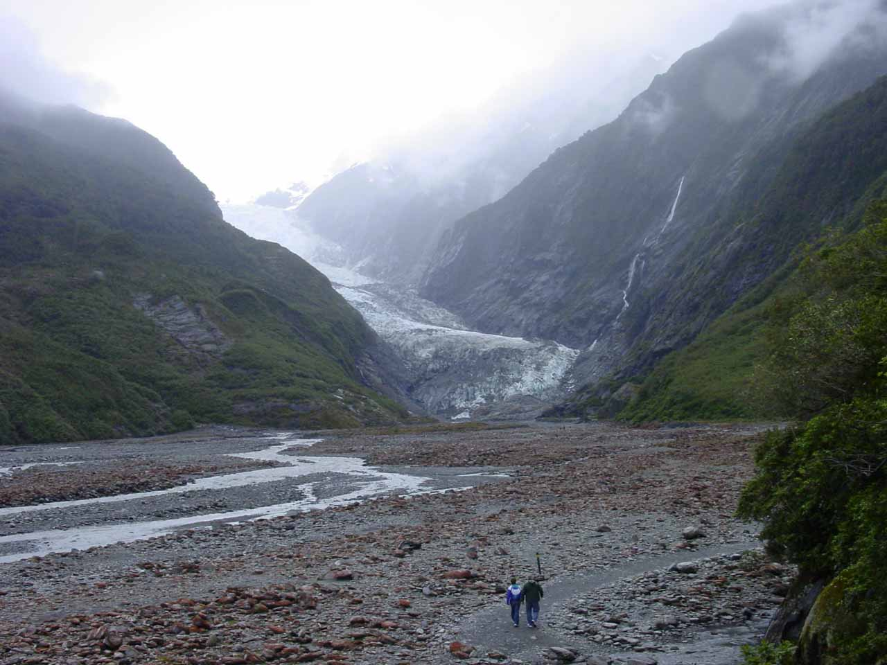 This was the view as we were descending into the glacier valley left behind by the scouring action of the Franz Josef Glacier