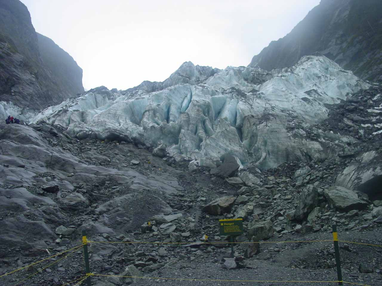 At the roped off terminus of the Franz Josef Glacier in November 2004