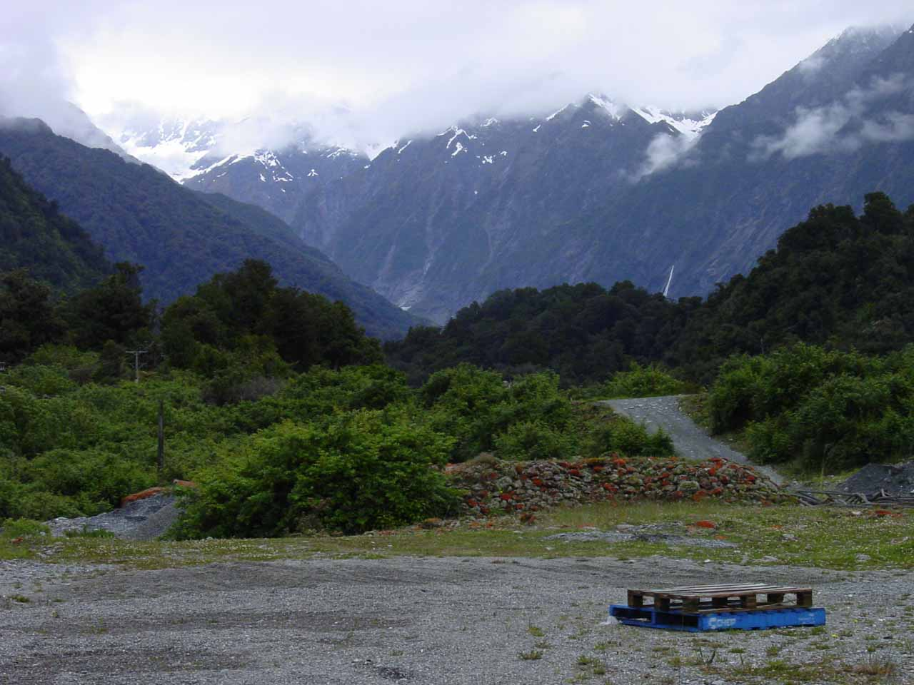 Looking past the helipad towards the mountains surrounding the Franz Josef Glacier as we were waiting for our turn to go onto the glacier