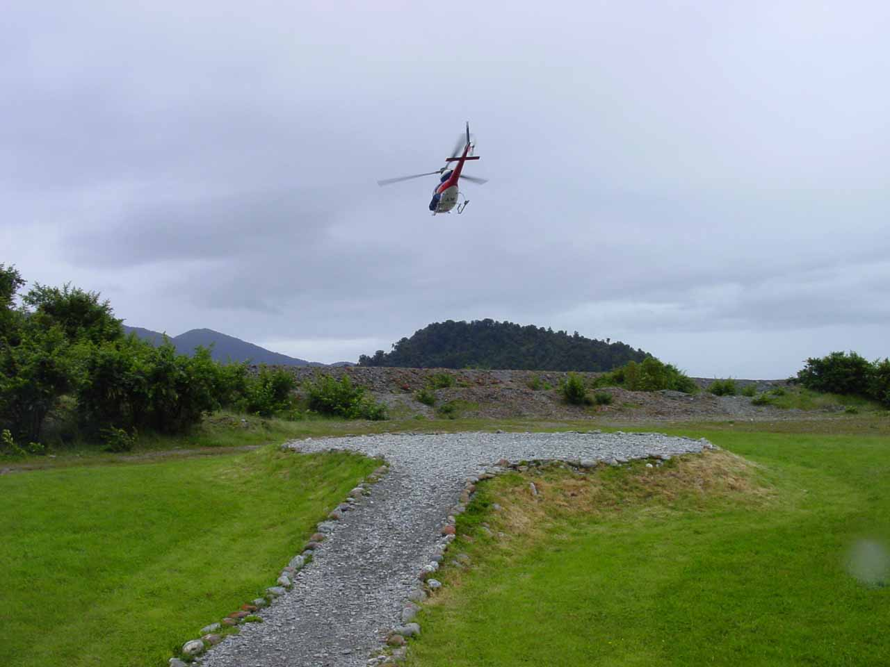 Waiting at the helipad for our turn to chopper our way up to the middle of the Franz Josef Glacier