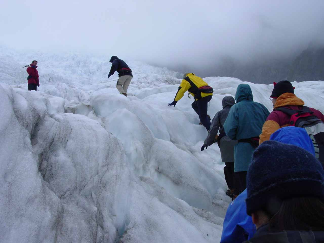 Following the group as we tramped on the Franz Josef Glacier
