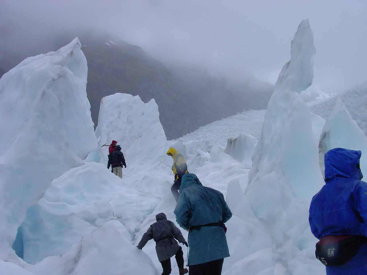 Interesting pinnacle formations that we walked amongst as we tramped on the Franz Josef Glacier