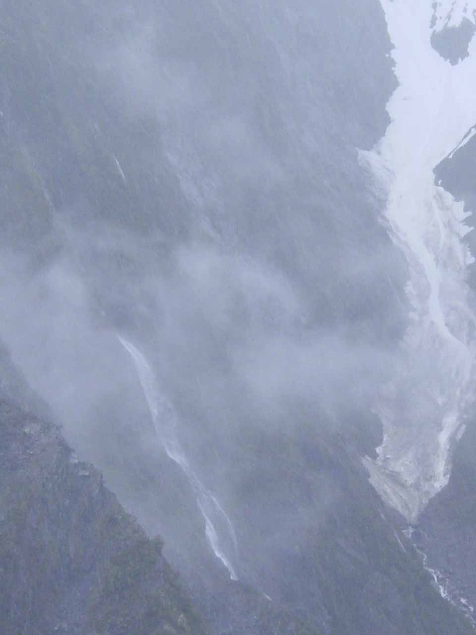 While we were on the Franz Josef Glacier, we looked towards this waterfall through the clouds that might be the Unser Fritz Falls