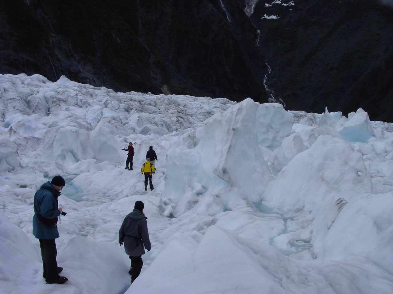 Walking through a more open field of jumbled ice atop the Franz Josef Glacier