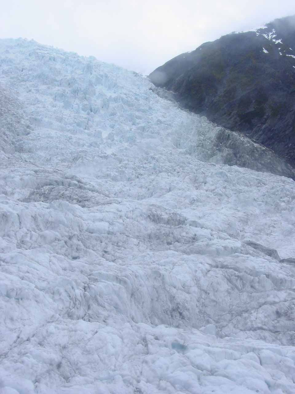 Looking up towards the uppermost sections of the Franz Josef Glacier