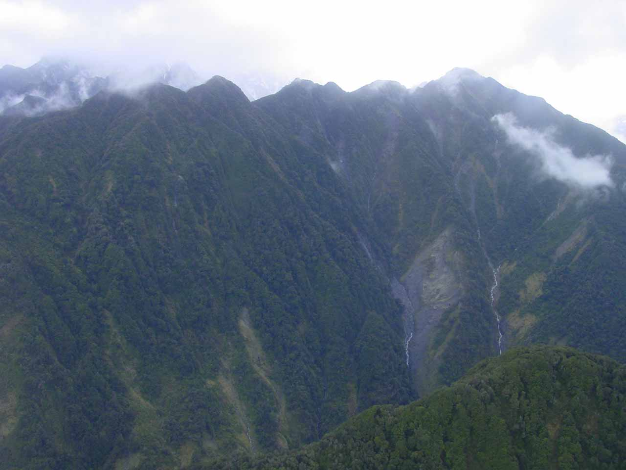 Looking towards the mountains flanking the Franz Josef Glacier