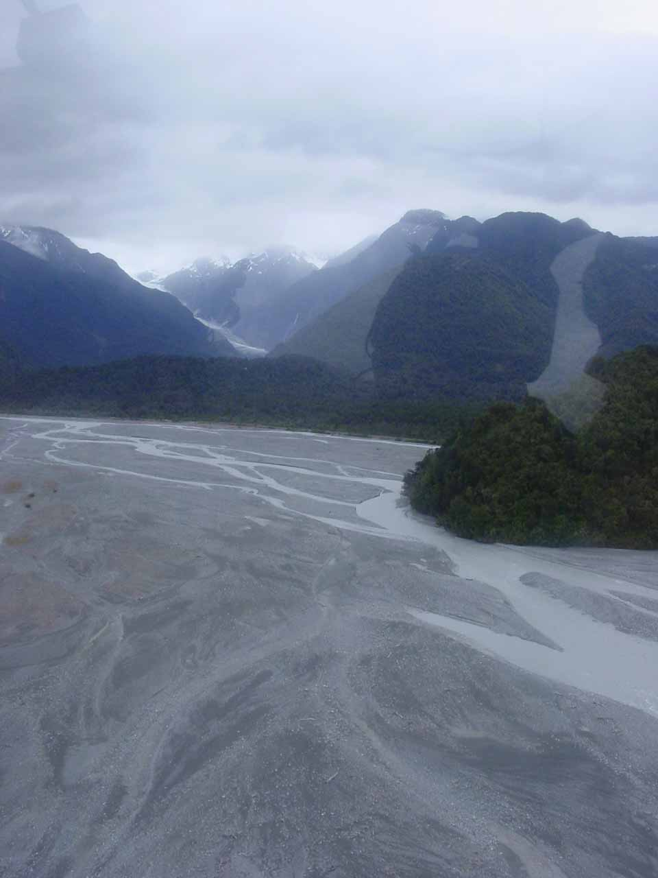 Looking over the alluvial fan back towards the Franz Josef Glacier