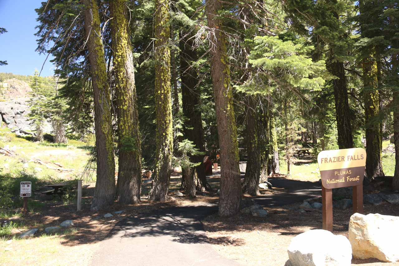 Starting on the stroll through the picnic area at the Frazier Falls Trailhead