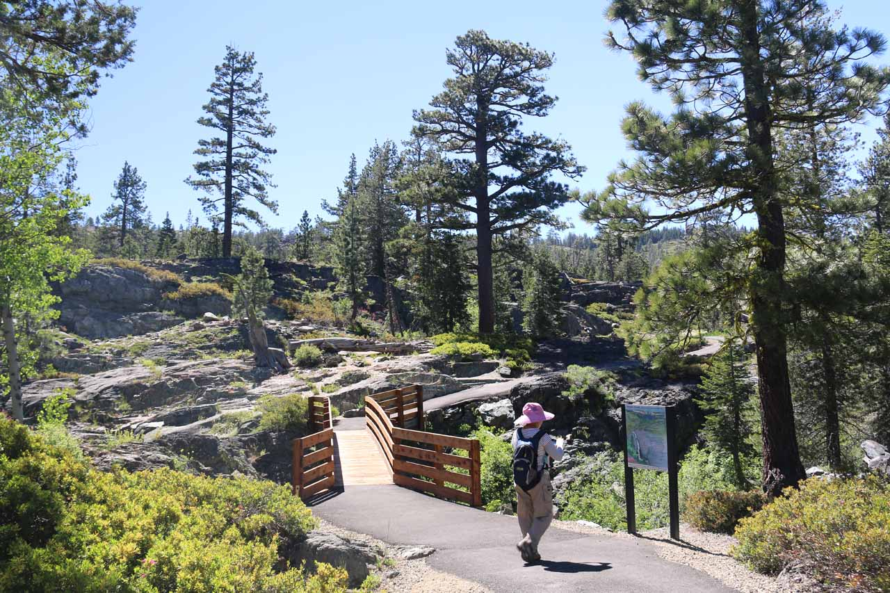 Mom making her way back to the trailhead as she approached the bridge over Frazier Creek again