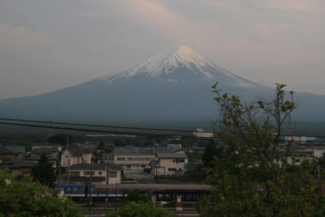 Fuji_071_05262009 - This was the view of Fujisan from our accommodation, which was right across the street from the train station at Kawaguchiko and where the bus to Shiraito and Otodome Waterfalls started and stopped