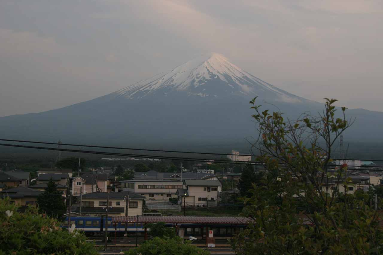 This was the view of Fujisan from our accommodation, which was right across the street from the train station at Kawaguchiko and where the bus to Shiraito and Otodome Waterfalls started and stopped