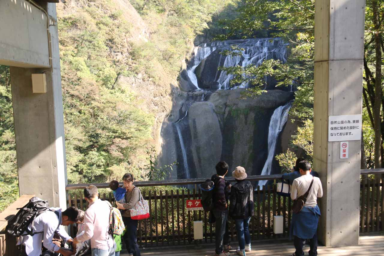 Context of the lowest of the above-the-elevator viewing decks at Fukuroda Falls