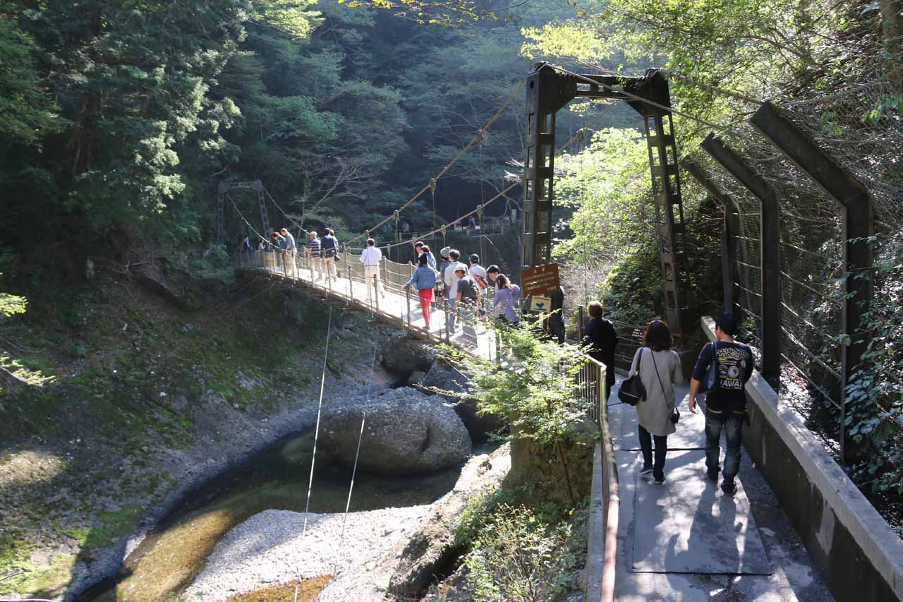 After finishing up the main lookouts of Fukuroda Falls, we then went across the tunnel then across this bouncy suspension bridge