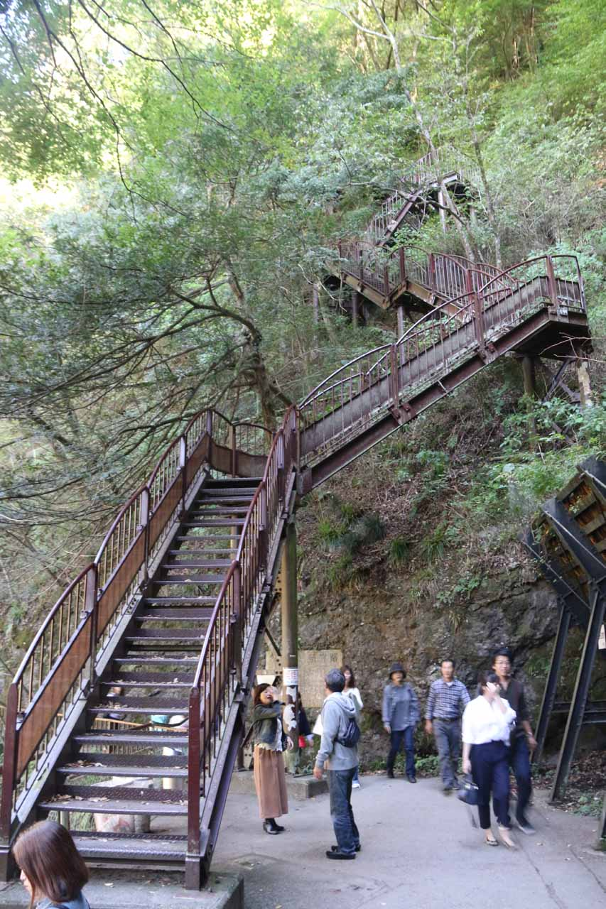 On the opposite side of the suspension bridge, there were these steep and long series of steps that went above the Fukuroda Falls