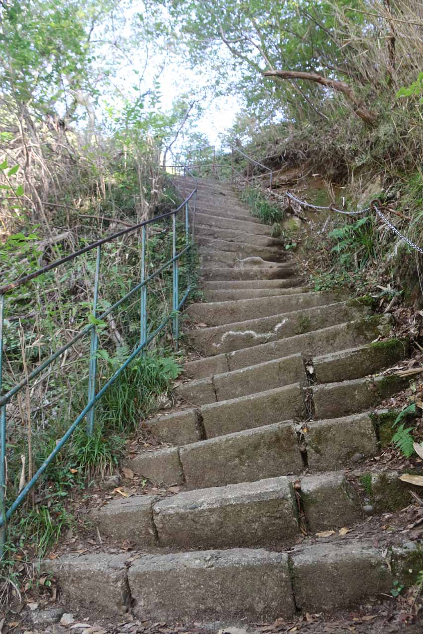 A closer look at the steepness (and unevenness) of the steps going above Fukuroda Falls