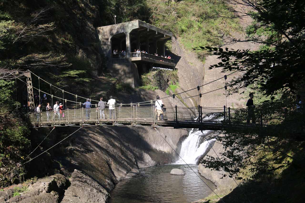 The suspension bridge and lower viewing deck at the Fukuroda Falls