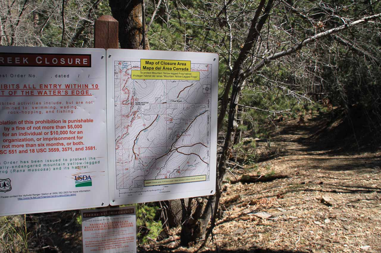 Creek closure signs