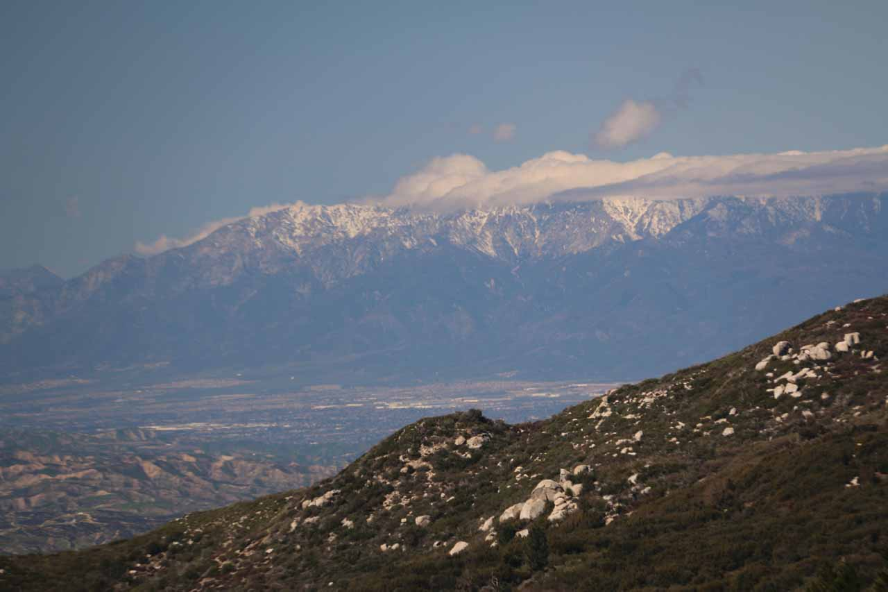 Looking towards the snow-capped mountains just north of the I-10 as seen from the Hwy 243