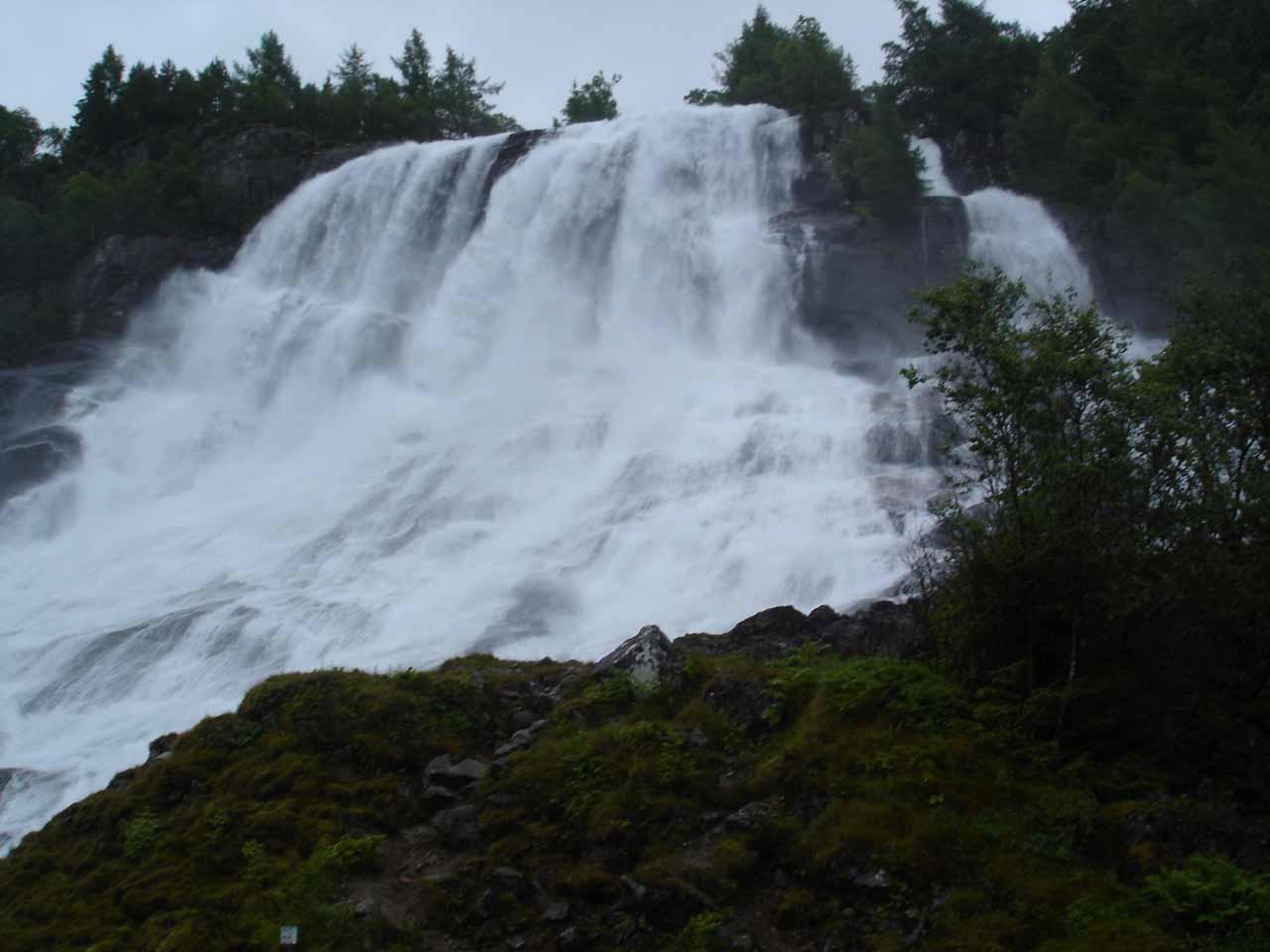 This might have been a less misty view of Furebergsfossen but then we saw less of the waterfall