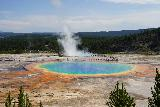 GPS_Overlook_032_08062020 - A more zoomed in look at the Grand Prismatic Spring as seen in August 2020. Notice the people on the boardwalk on the other side of the spring, which gives you a sense of scale of just how huge this spring was