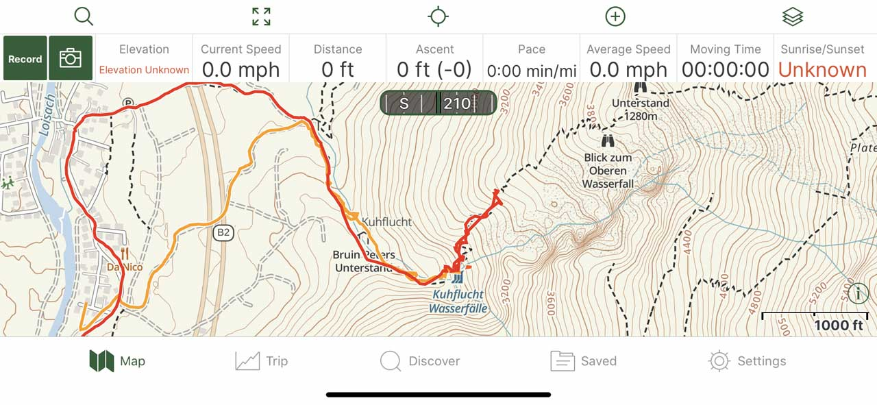 Even though I'm showing post-trip tracks superposed on my Gaia GPS phone app of the Kuhflucht Waterfall hike, you can see that this information was available to me in-the-field had I navigated using my phone and this app! With this information, I definitely would have known to keep going!