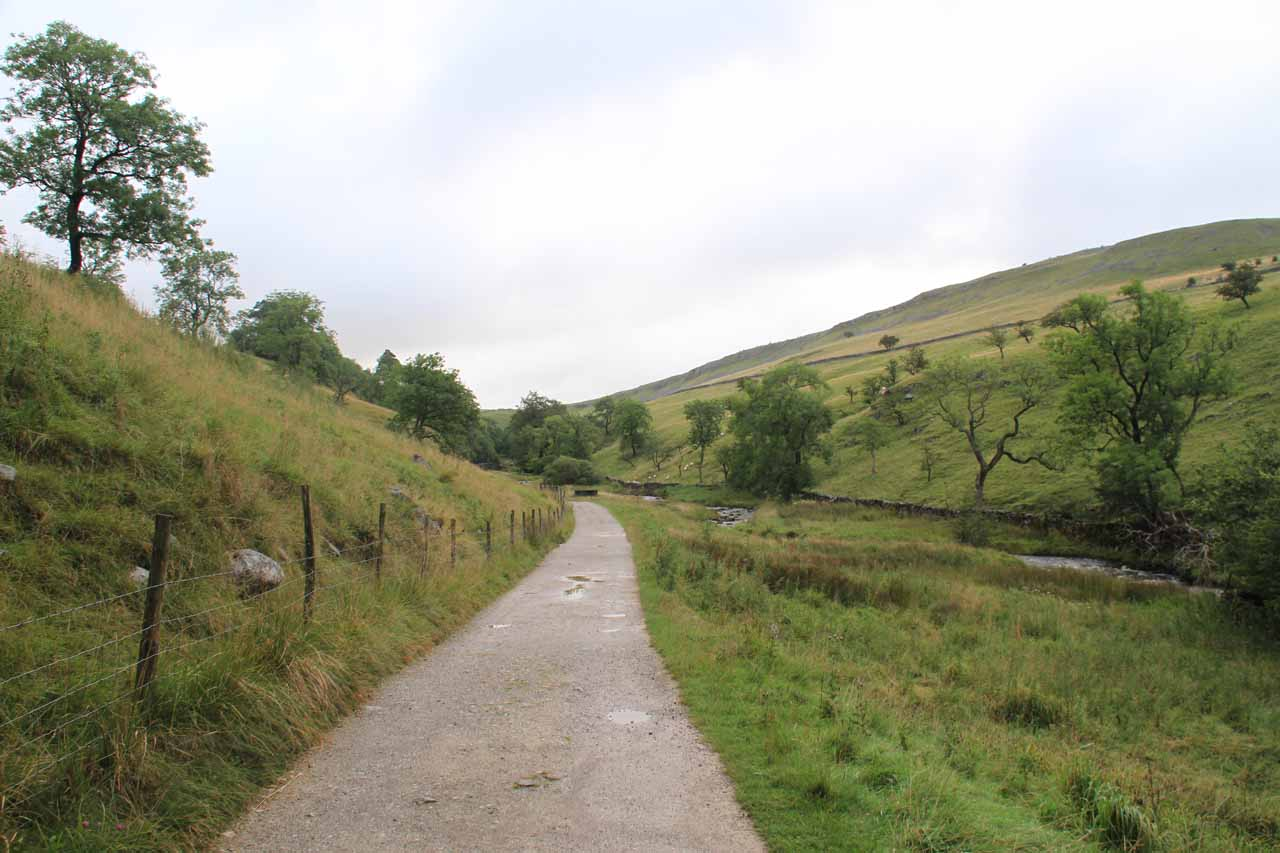 Beyond the Ingleborough Estate Trail, the terrain opened up onto sheep pastures running alongside the River Wenning