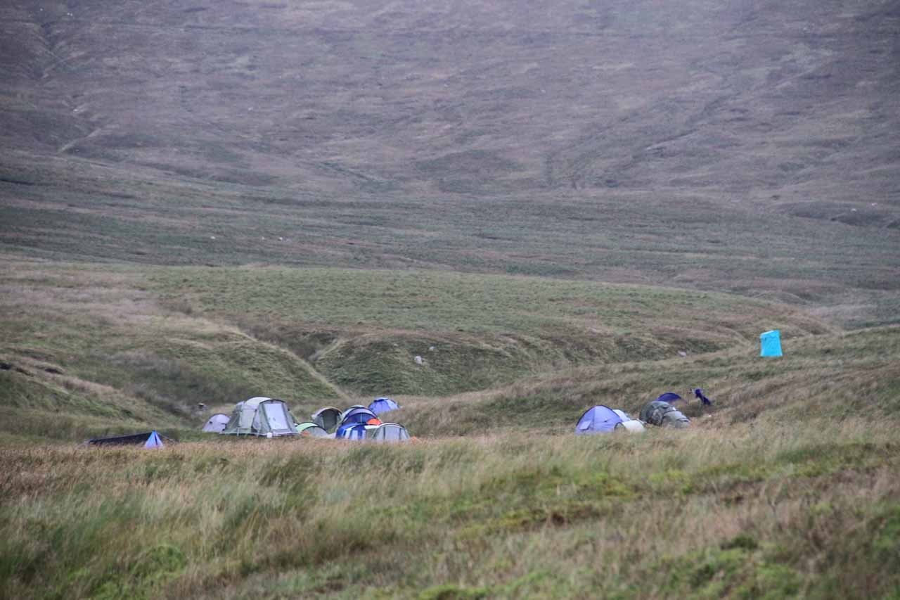 Approaching the group of tents that turned out to be the Craven Pothole Club operation