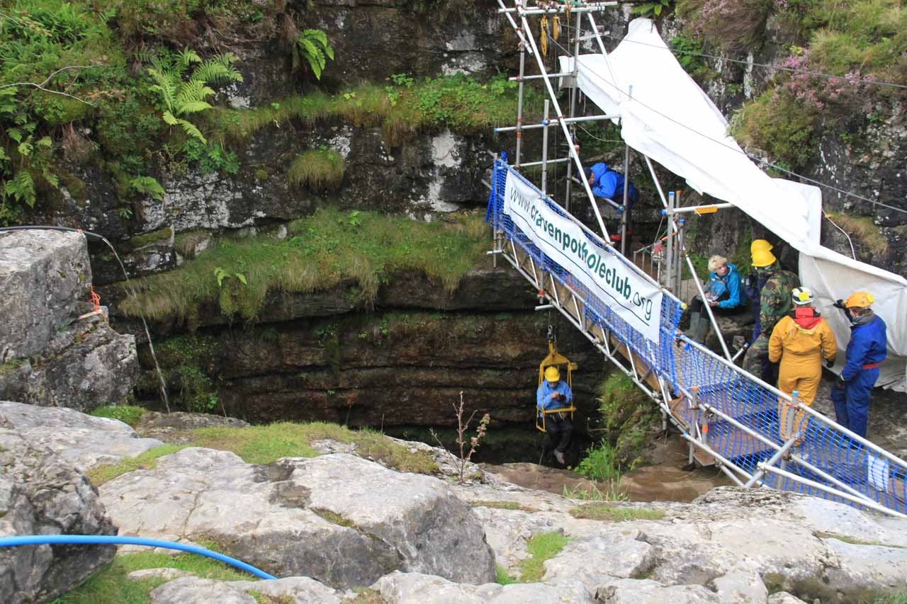Watching one guy go down the winch into the Gaping Gill