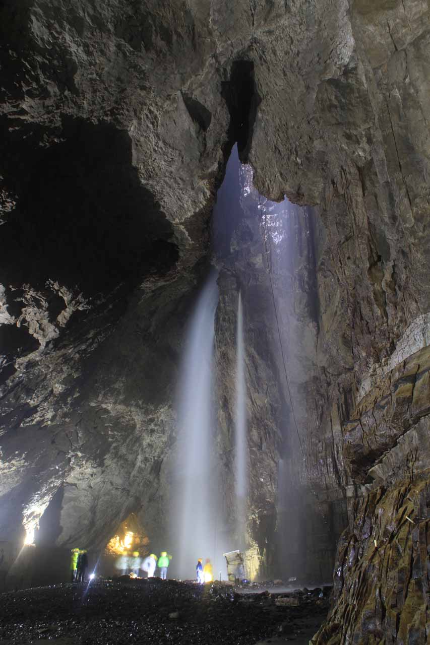 Looking at the three distinct waterfalls plunging into the Gaping Gill