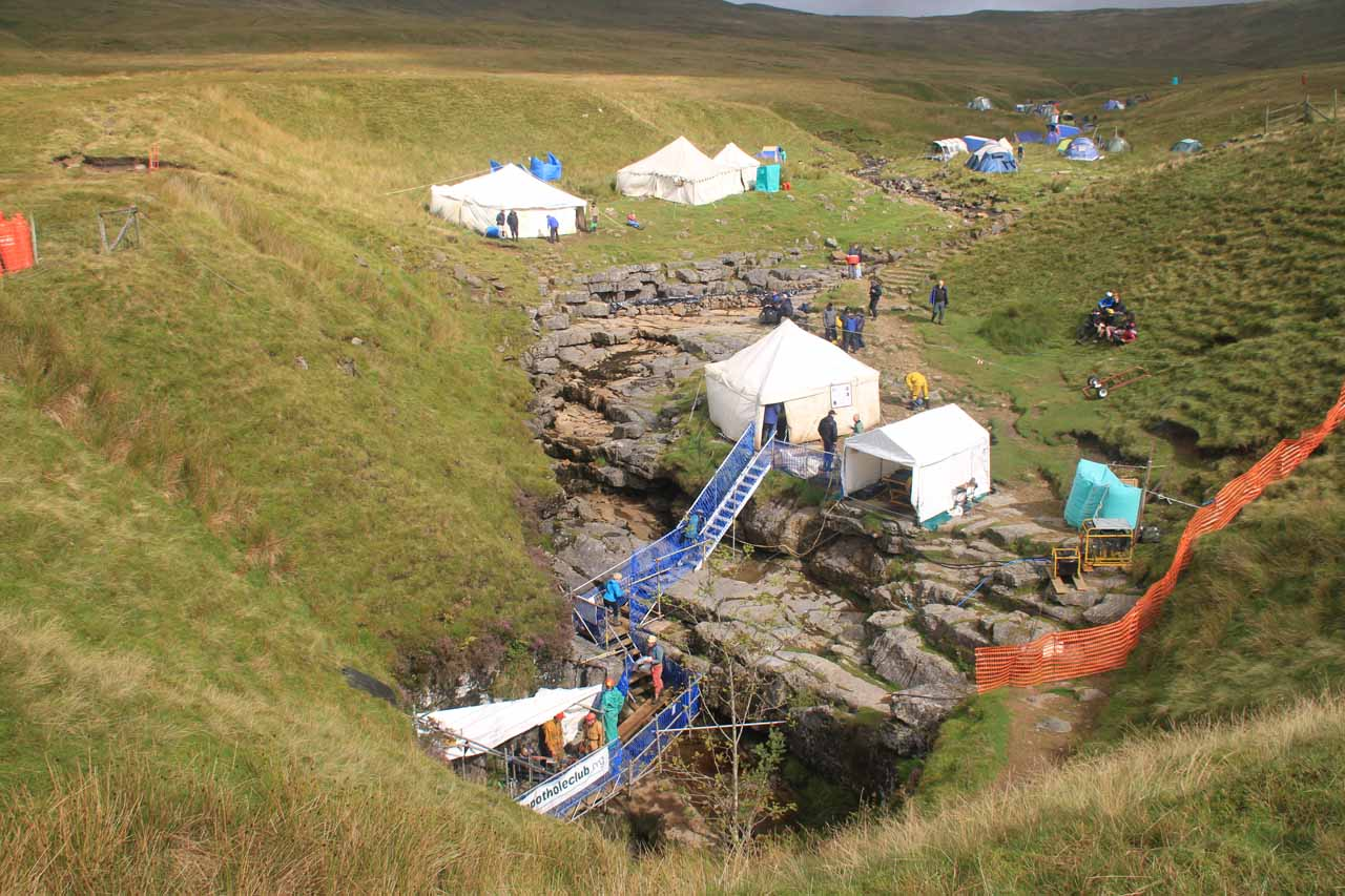 Looking back at the setup of the winch meet for the Gaping Gill before it was time to leave