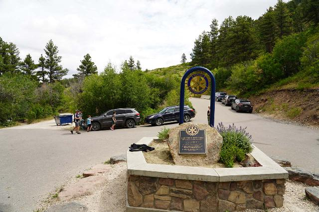 Garden_Creek_Falls_002_07292020 - Looking back at the Rotary Park sign in the middle of the parking area at the end of the S Rotary Park Rd