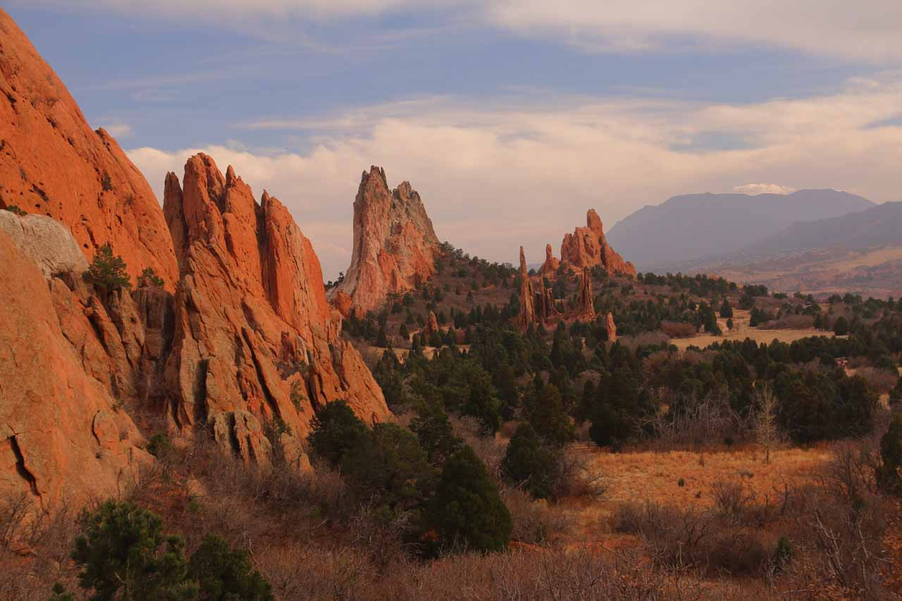 Signature view in the late afternoon of the Central Garden section of the Garden of the Gods in Colorado Springs