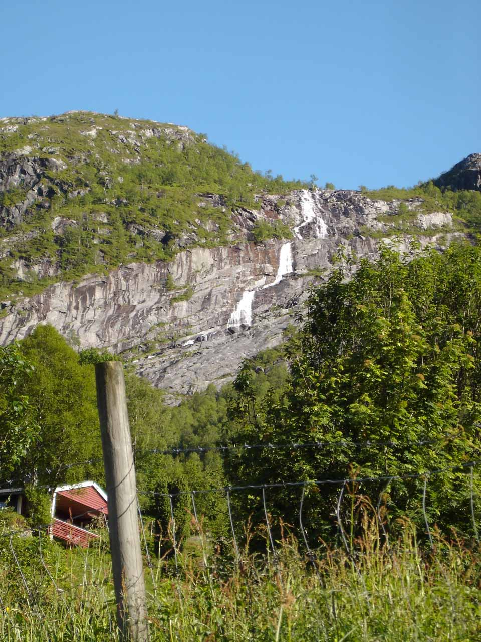 One of many waterfalls seen on the north-facing cliffs facing Viksdalvatnet as we drove east on the Road 610