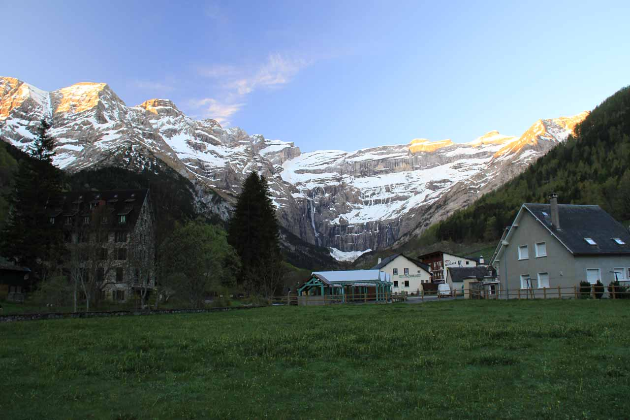 View of the cirque from near the WC in the town of Gavarnie
