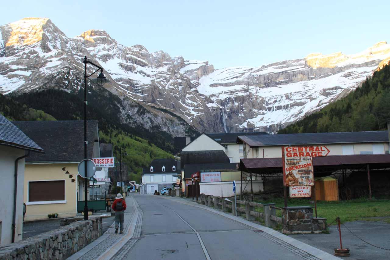 Walking through Gavarnie town