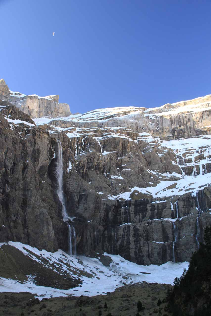 One benefit of early-morning hiking is the possibility of seeing the moon above the Cascade de Gavarnie
