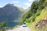 Geiranger_110_07182019 - Following a bus on the way down the switchbacks of the Ornesvingen towards the town of Geiranger