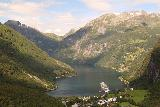 Geiranger_139_07182019 - Another view down towards Geiranger and Geirangerfjorden from one of the popular but limited lookouts south of Geiranger along Rv63