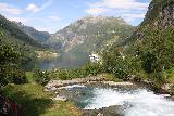 Geiranger_215_07182019 - Looking downstream over some cascades towards Geirangerfjorden on the nice walk alongside the river towards the main part of Geiranger town