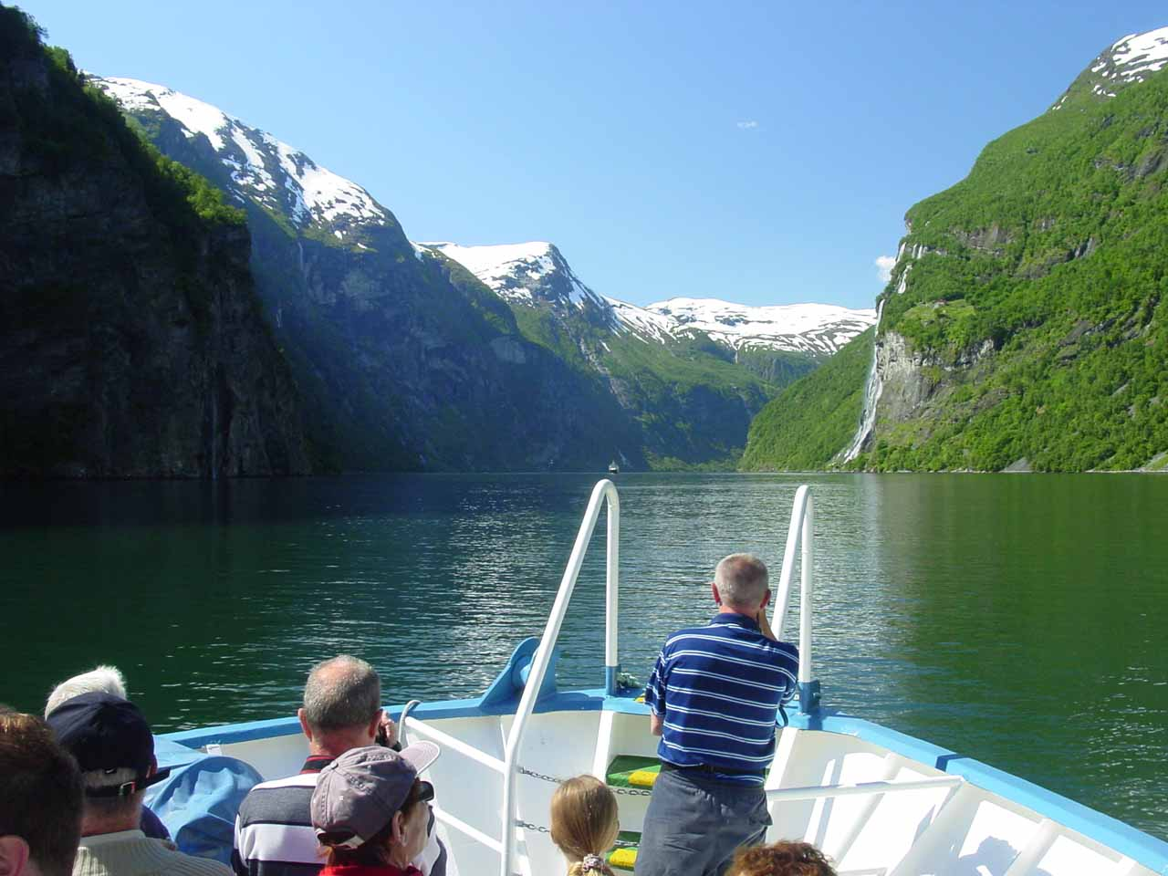 Looking ahead towards the Seven Sisters and the middle of Geirangerfjorden