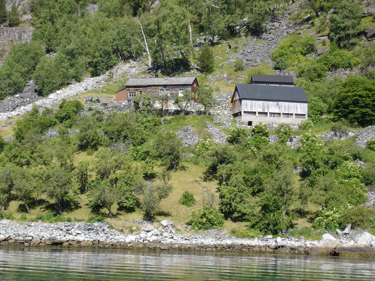 Looking towards some abandoned farms on the north side of Geirangerfjorden