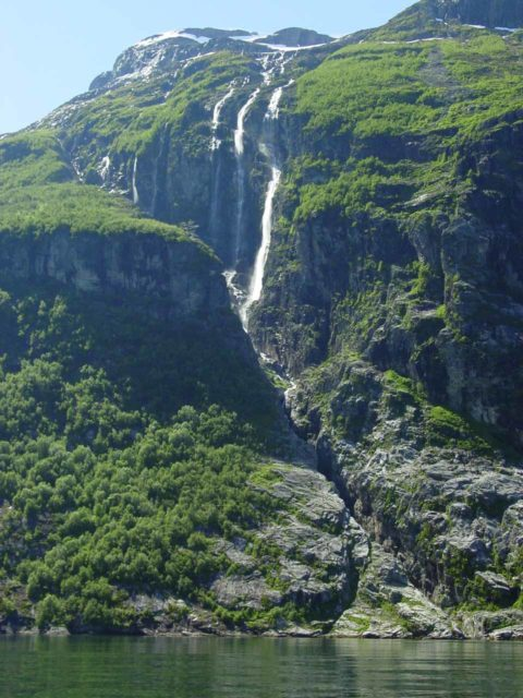 Geirangerfjorden_081_07012005 - Some kind of impressive triple-segmented waterfall beyond Ljosurfossen as seen during our first visit in early July 2005