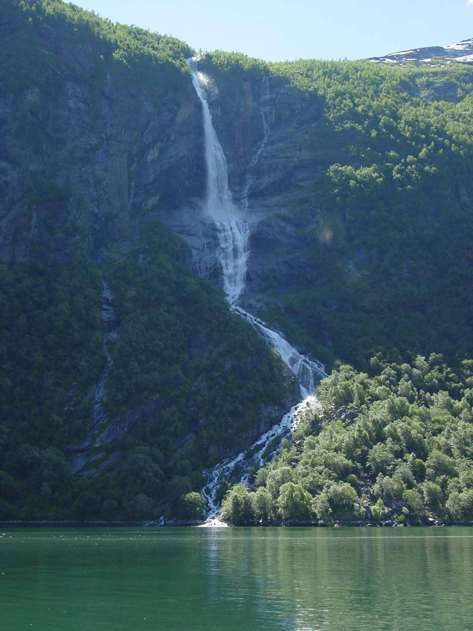 Now that we were headed east back to Geiranger, we got to see these waterfalls again, like this more frontal view of Ljosurfossen