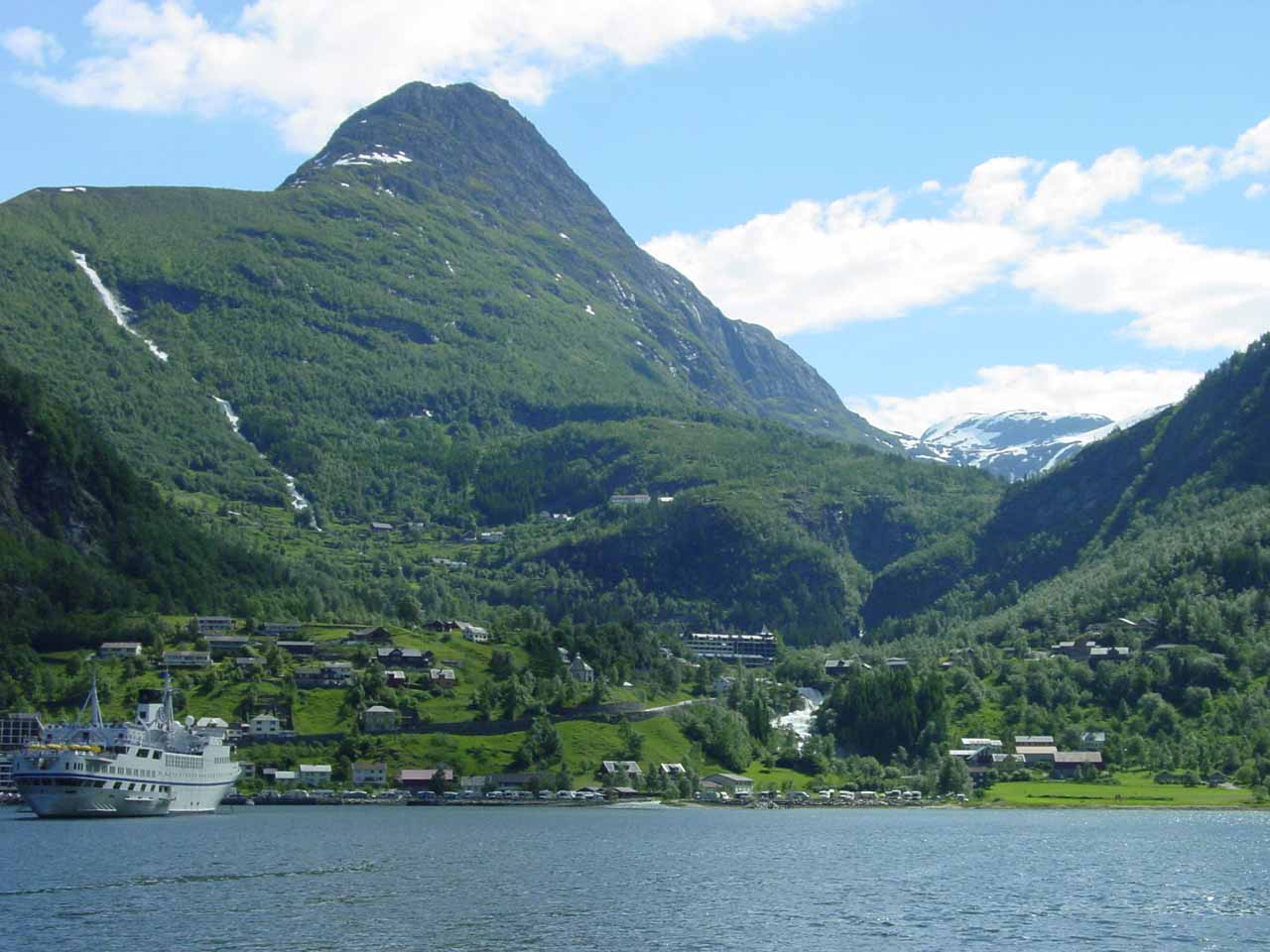 This was the view looking back towards the town of Geiranger (note Grinddalsfossen on the left) from the Geiranger Fjord Cruise, which we did before doing the hike to Storsæterfossen
