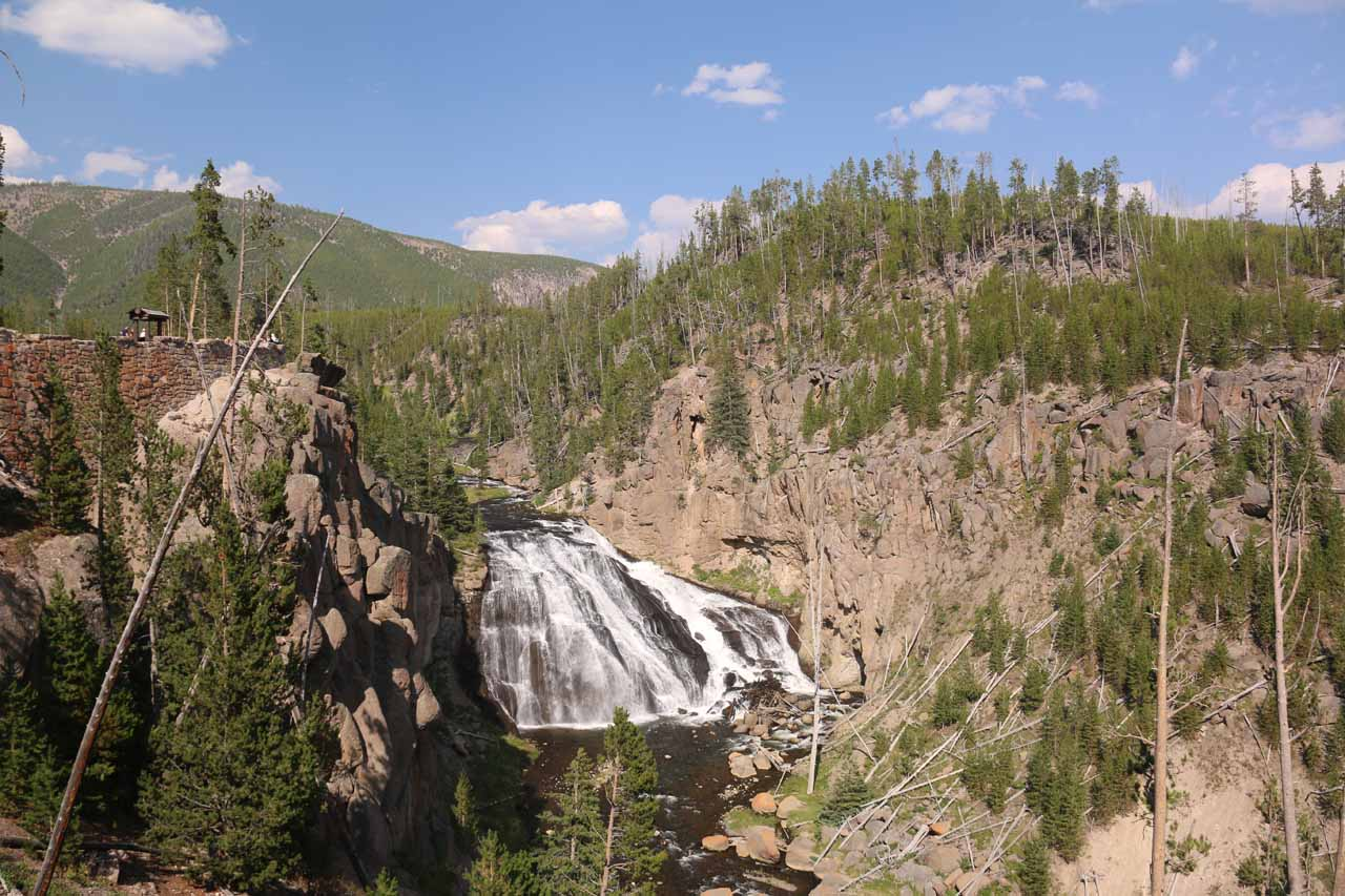 View from an intermediate lookout for Gibbon Falls. Note the small shelter and the railings to the topleft showing how big the Lava Creek tuff cliffs were
